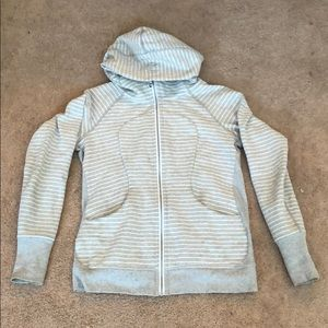 Lululemon scuba hoodie gray white stripe sz 10